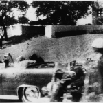 View of the grassy knoll immediately after John F. Kennedy was shot