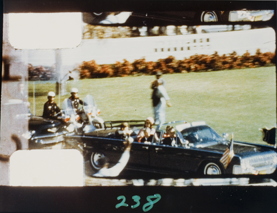 Frame 238 shows the moment John F. Kennedy was shot