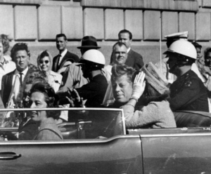 John F. Kennedy moments before the assassination shots were fired