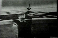 Damage to the windshield frame of President Kennedy's limo