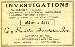 Guy Banister Associates investigative agency card