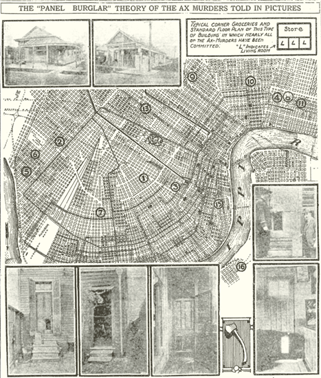 Map of New Orleans showing sites of the Axeman murders