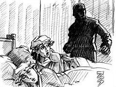 Illustration showing Pauline and Mary Brune asleep with Axeman looming over them