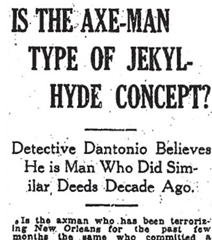 Newspaper headline - Is the Axe-Man type of Jekyl-Hyde concept?
