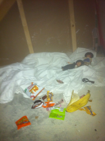 The family found this evidence that someone had been living within the walls of their home