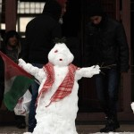 Snow covers the ground in the Middle East