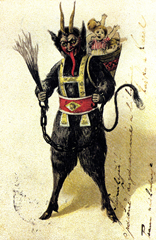 Krampus carries children away with a sack/pack on his back
