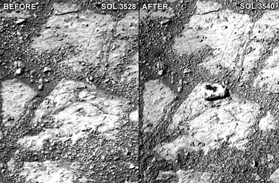 "Mars mystery rock (Pinnancle Island) appears in surface apparently ""out of thin air"""