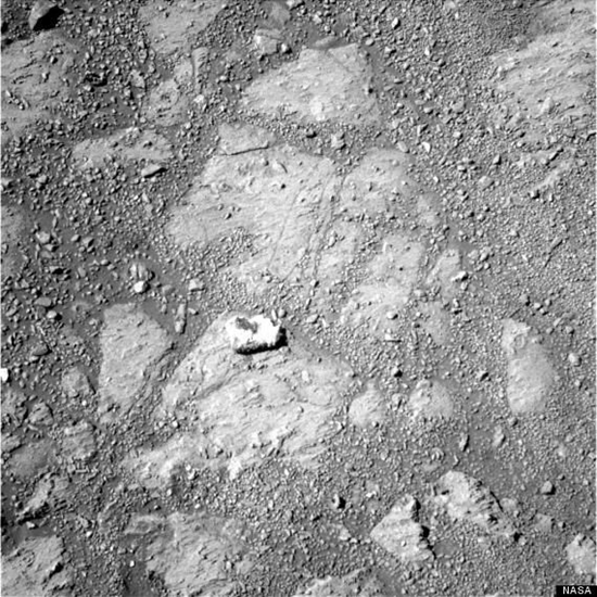 NASA photo showing flat bedrock after the appearance of the mystery rock