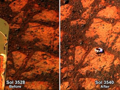 Full color photo of the NASA mystery rock discovered on the surface of the Red Planet