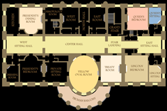 Layout of White House second floor where ghostly apparitions are frequently sighted