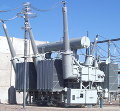 Typical electric transformer at a electrical substation