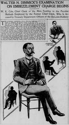 1901 article - Walter N. Dimmick's examination on embezzlement charge begins