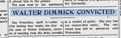 Article announcing conviction of Walter Dimmick