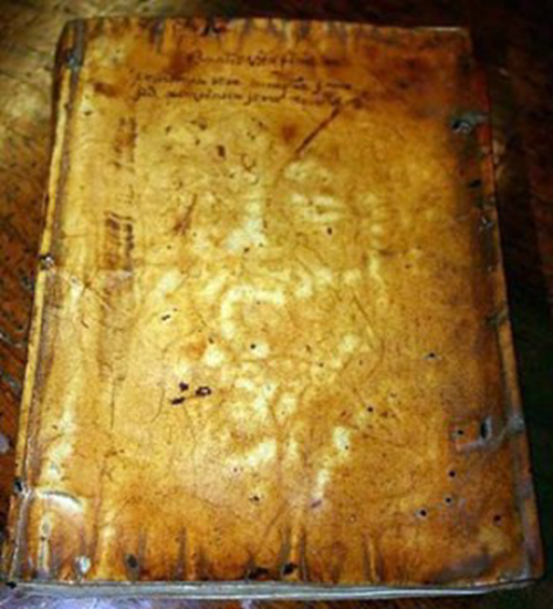 Book bound in the skin of Father Henry Garnet still bears the outline of his anguished face