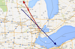 Flight paths of Air Shuttle 5959 (Blue) and Mesaba 3179 (Red)