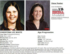 Missing persons poster - Christina Lee White