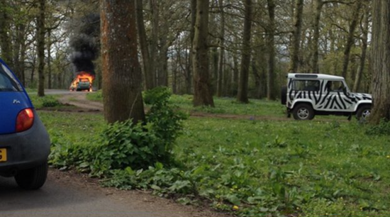Family car catches fire inside lion enclosure in Longleat Safari Park in England