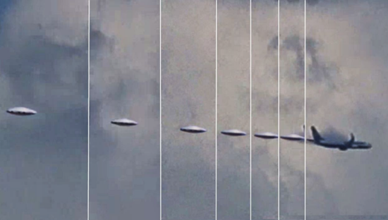 Frame by frame shot of UFO bursting through clouds near airplane