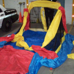 The bounce house settled to earth about three blocks away