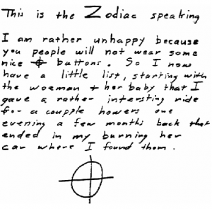 Kathleen Johns letter sent to San Francisco Chronicle on July 24, 1970 (postmarked San Francisco)