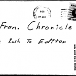 Envelope for Exorcist letter sent to San Francisco Chronicle on January 29, 1974 (postmarked San Francisco)