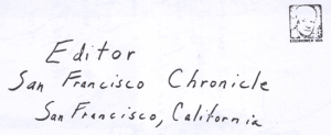 Envelope for SLAY letter sent to San Francisco Chronicle on February 14, 1974 (unknown postmark)