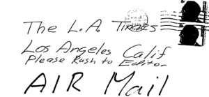 Envelope for letter sent to Los Angeles Times on March 13, 1971 (postmarked Pleasanton, California)
