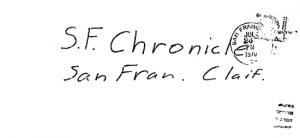 "Envelope for ""Little List"" letter sent to San Francisco Chronicle on July 26, 1970 (postmarked San Francisco)"