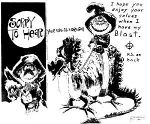 Dragon card sent to San Francisco Chronicle on April 28, 1970 (postmarked San Francisco)