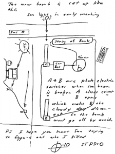 """Bomb diagram included with the """"My name is"""" letter sent to San Francisco Chronicle on April 20, 1970"""