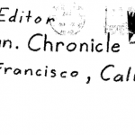 "Envelope for the ""My name is"" letter sent to San Francisco Chronicle on April 20, 1970"