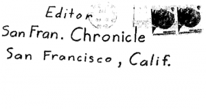 """Envelope for the """"My name is"""" letter sent to San Francisco Chronicle on April 20, 1970"""