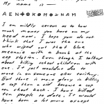"""My name is"" letter sent to San Francisco Chronicle on April 20, 1970 (postmarked San Francisco) - to date the cipher is unsolved"