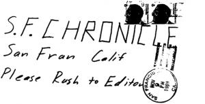 Envelope for bus bomb letter sent to San Francisco Chronicle on November 9, 1969 (postmarked San Francisco)