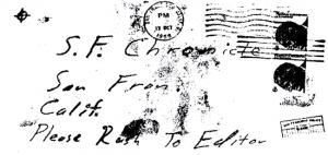 Envelope for Stine letter sent to San Francisco Chronicle on October 13, 1969 (postmarked San Francisco)