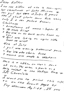 Letter sent to San Francisco Examiner on July 31, 1969 (postmarked San Francisco, California)