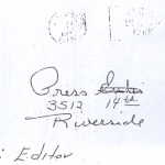 Envelope of letter sent to Riverside Press on April 30, 1967 (copy of letter has never been released)