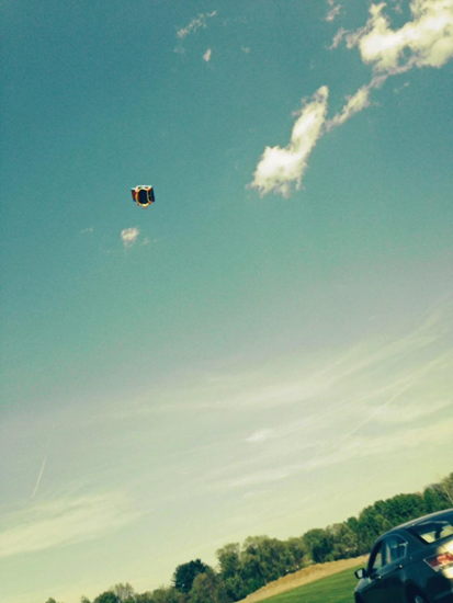 Photo of bounce house picked up by gust of wind and sent sailing through the air