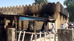 Apparent damage to the Chibok Borno school in Nigeria