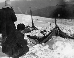 The tattered and torn tent of the Dylatov Pass expedition team