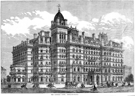 Haunted Langham Hotel, London as it appeared in 1865