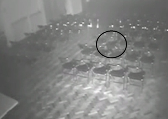 CCTV security footage captures moving chair and table inside Brookside Theatre