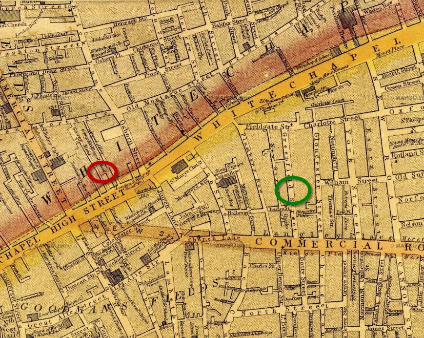 Location of Martha Tabram murder and Aaron Kosminski residence on Greenfield Street