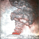 1887 Lithograph illustrating the eruption of the Krakatoa volcano in 1883 thumb