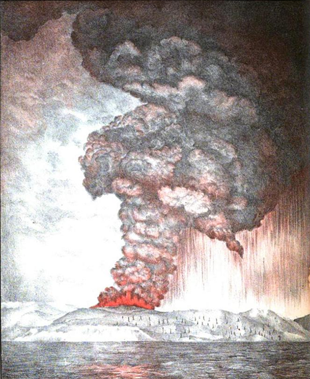 1887 Lithograph illustrating the eruption of the Krakatoa volcano in 1883