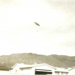 Photograph circa-1962 of disc-shaped UFO near Kirkland Air Force Base in Albuquerque, New Mexico