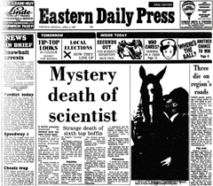 Newspaper headlines - Mystery death of scientist (Peter Peapell)
