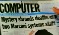 Newspaper headline - Mystery shrouds death of two Marconi systems staff