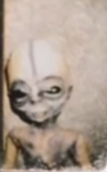 Boyd Bushman photo of alien held at Area 51
